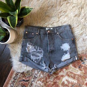 One Teaspoon Distressed Outlaw Denim Shorts